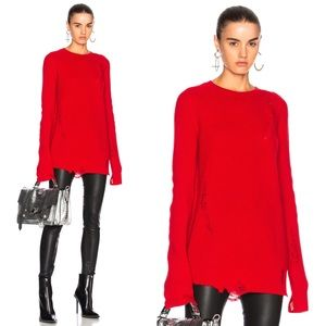 Helmet Lang NWT Distressed Crew Neck Sweater Red